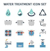 Water treatment plant and septic tank vector icon set.