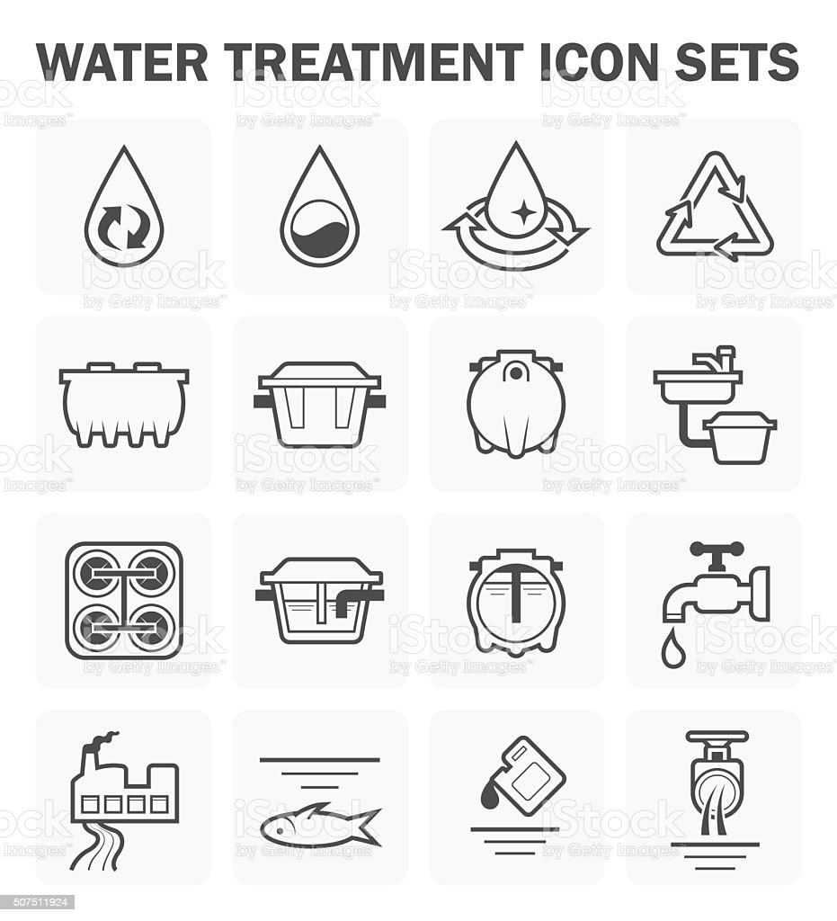 Water treatment icons vector art illustration