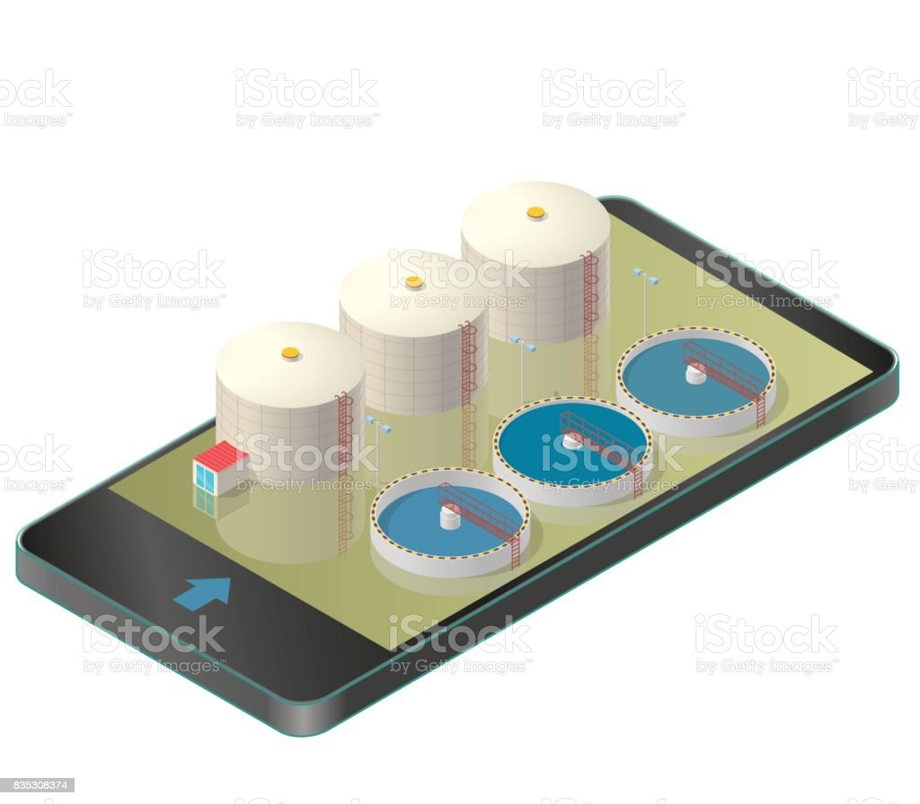 Water treatment isometric building in mobile phone. vector art illustration