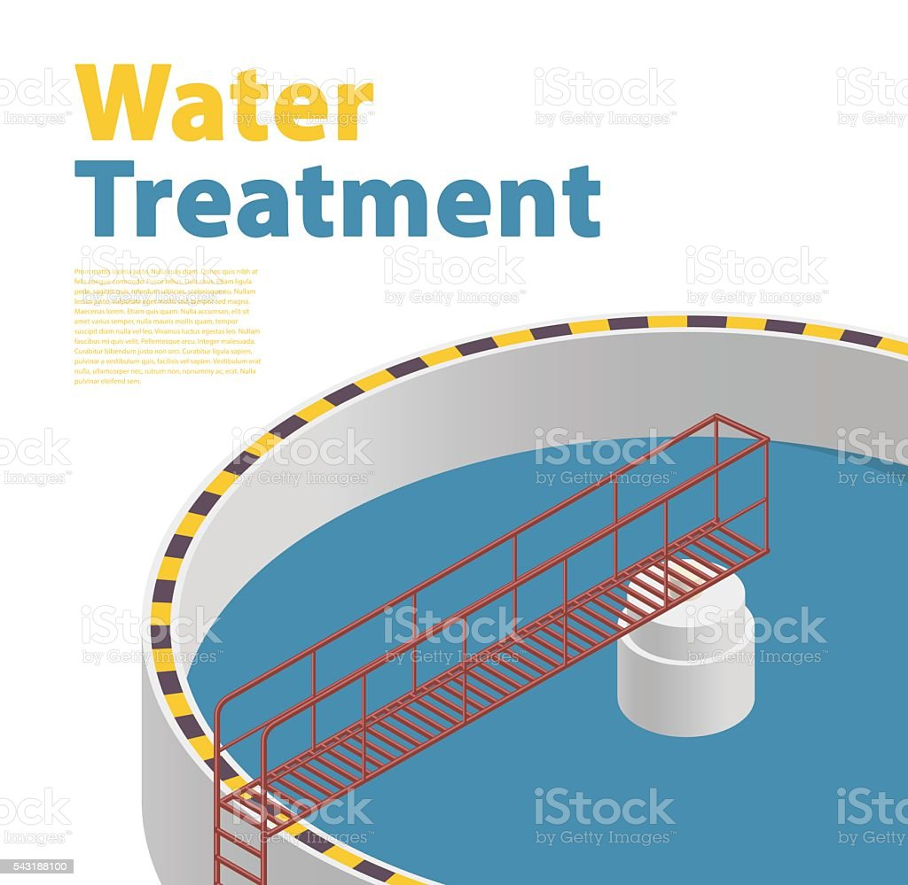 Water treatment isometric building infographic, detailed bacterium purifier, white background. vector art illustration