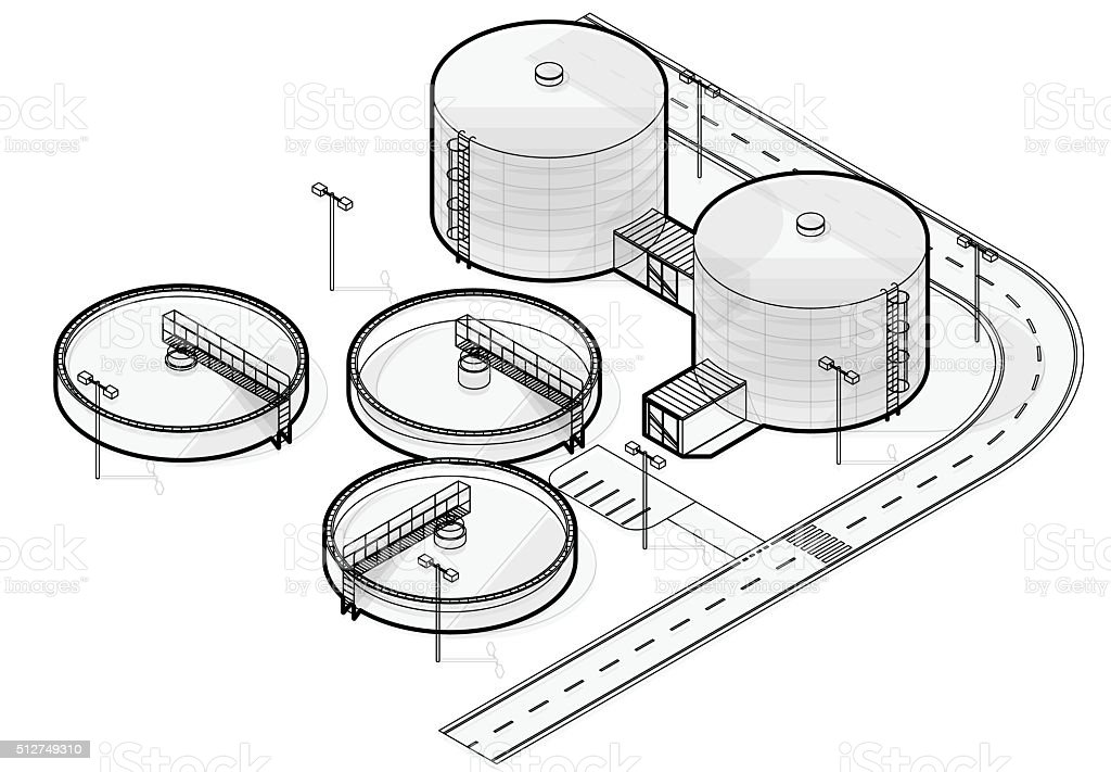 Water treatment isometric building infographic, wire bacterium purifier on white. vector art illustration