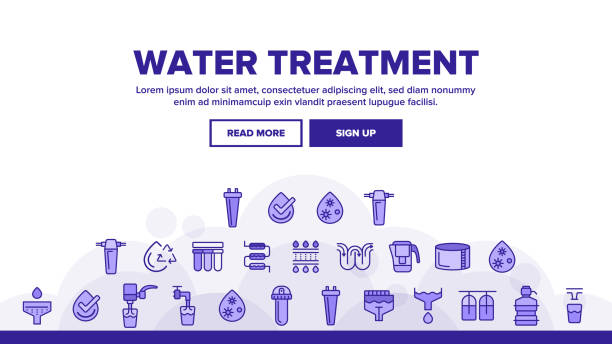 Water Treatment Landing Header Vector Water Treatment Vector Landing Web Page Header Banner Template Vector. Water Treatment, Professional Equipment for Purification. Antibacterial Filters, Liquid Cleaning Circles System Illustration rock formations stock illustrations