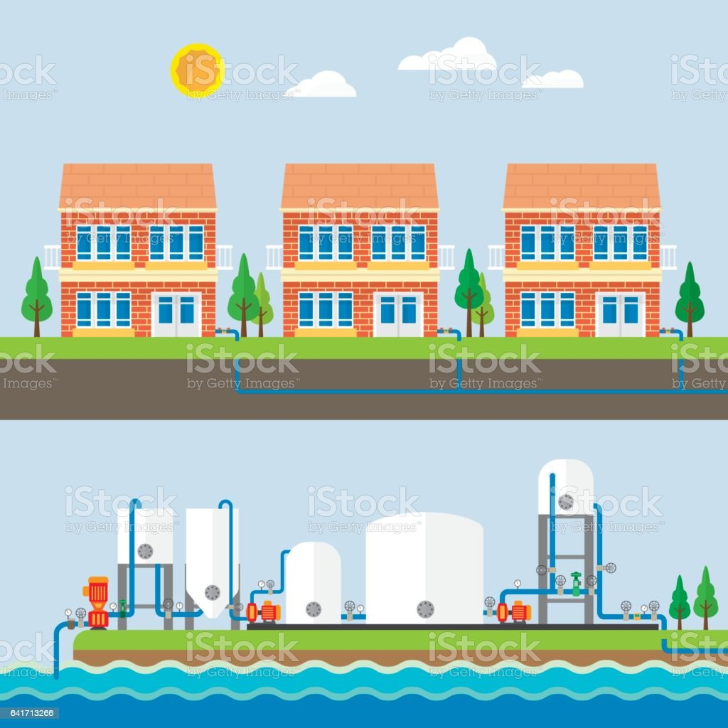 water treatment plant and water supply vector art illustration