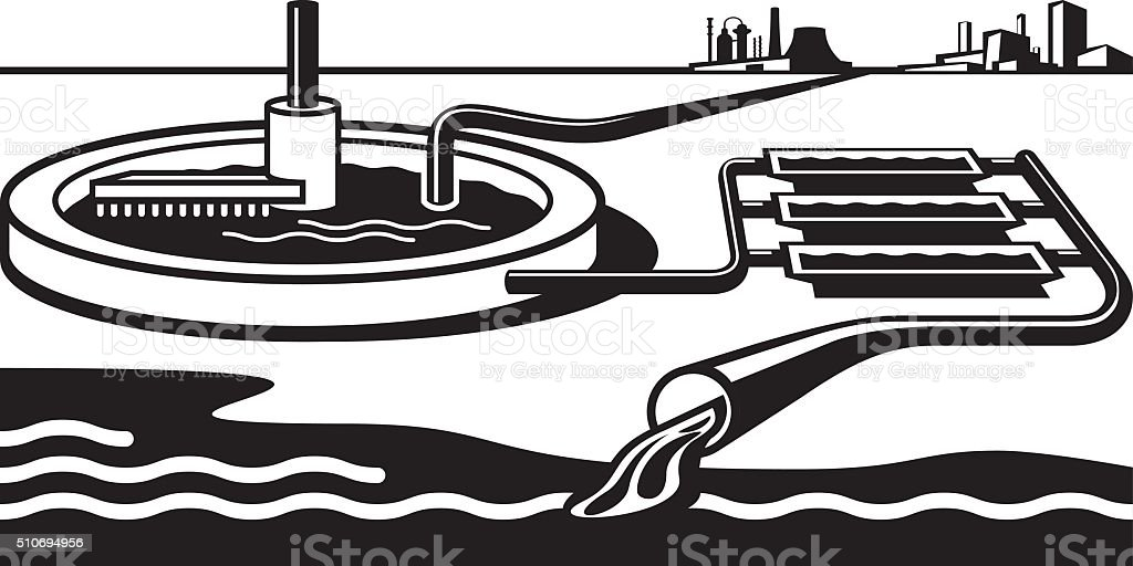 Water treatment plant vector art illustration
