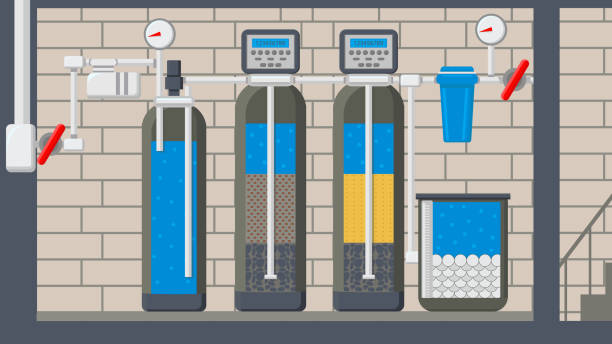 water treatment system flat vector illustration - basement stock illustrations