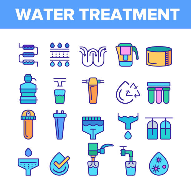 Water Treatment Vector Color Line Icons Set Water Treatment Vector Thin Line Icons Set. Water Treatment, Professional Equipment for Purification Linear Pictograms. Antibacterial Filters, Liquid Cleaning Circles System Contour Illustrations rock formations stock illustrations