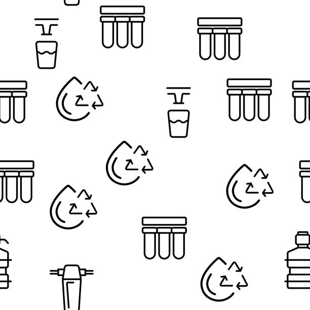 Water Treatment Vector Seamless Pattern Water Treatment Vector Seamless Pattern Thin Line Illustration rock formations stock illustrations