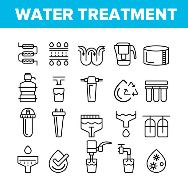 Water Treatment Vector Thin Line Icons Set Water Treatment Vector Thin Line Icons Set. Water Treatment, Professional Equipment for Purification Linear Pictograms. Antibacterial Filters, Liquid Cleaning Circles System Contour Illustrations rock formations stock illustrations