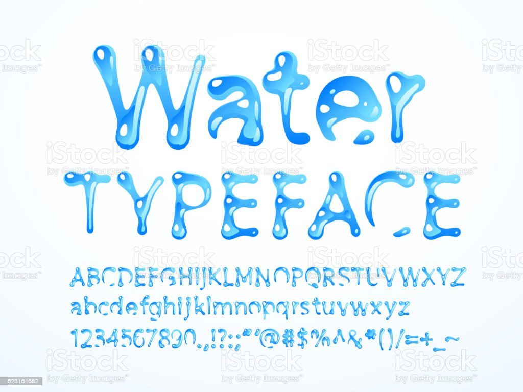 Water typeface vector art illustration