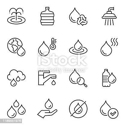 Water usage thin line contour icons set. Natural water circulation, consumption, environmental pollution linear symbols. Tap, shower with droplet, natural spring isolated vector outline illustration
