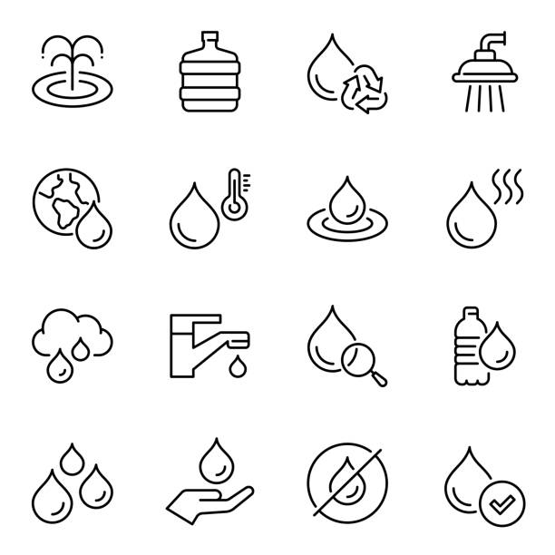 Water usage thin line contour icons set vector art illustration
