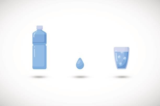 bildbanksillustrationer, clip art samt tecknat material och ikoner med vatten vektor platt ikonuppsättning - akvatisk organism