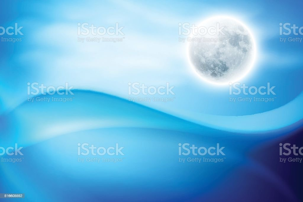 Water wave at night with full moon vector art illustration