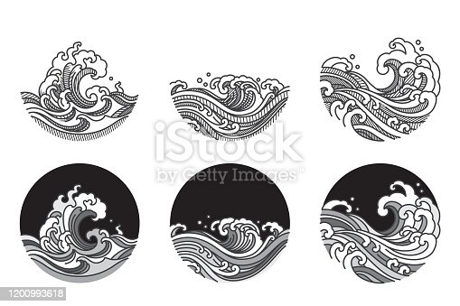 Water wave line art vector illustration. Single line and gray color tone and shadow shade. Japanese. Thai.