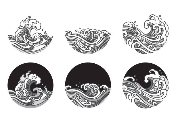 Water wave line art vector illustration. Water wave line art vector illustration. Single line and gray color tone and shadow shade. Japanese. Thai. wave stock illustrations