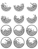 Water wave line logo symbols. Oriental wave decorate in round shape. Japanese. Thai. Chinese. - Vector.