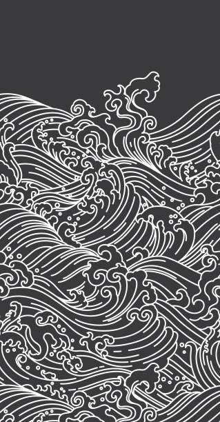illustrazioni stock, clip art, cartoni animati e icone di tendenza di water wave seamless background - giappone