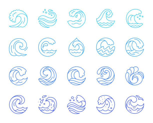 Water wave simple color line icons vector set Wave thin line icon set. Outline sign kit of sea. Water splash linear icons of spiral curl, aqua decoration, tourist diving. Simple blue wave contour symbol isolated on white. Vector Illustration tsunami stock illustrations