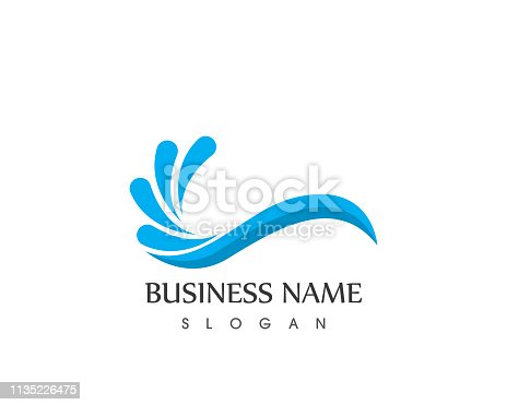 Water wave splash icon logo template