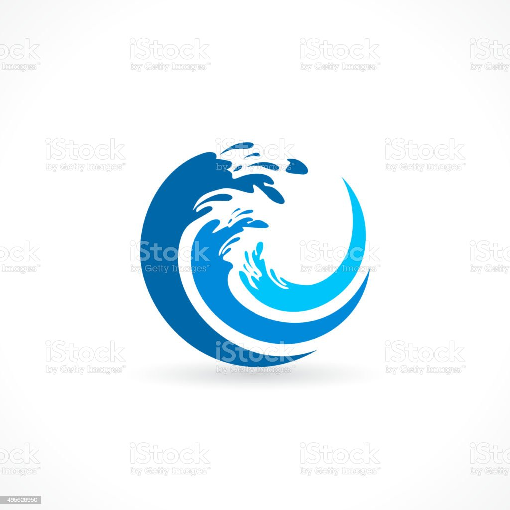 water wave splash icon vector art illustration