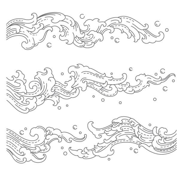 illustrations, cliparts, dessins animés et icônes de éclaboussure d'onde d'eau. chine, thaïlande, japon. style de vecteur de ligne unique. - tatouages asiatiques