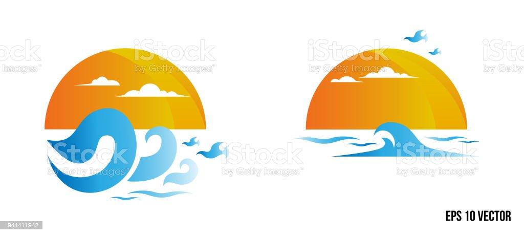 Leau Symbole Et Icone Logo Template Vector Soleil Et Vague Logo Wave
