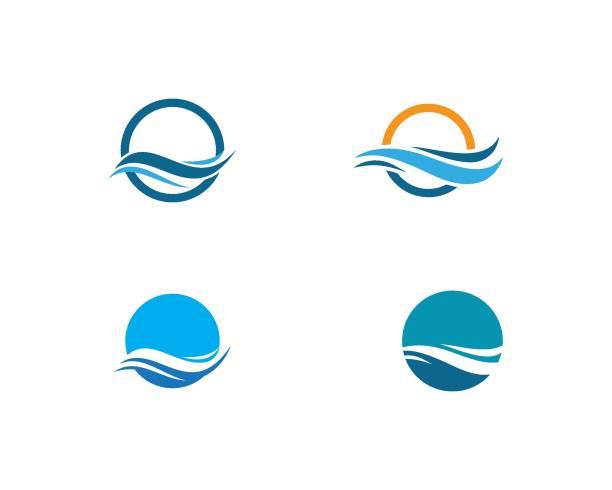 ilustrações de stock, clip art, desenhos animados e ícones de water wave symbol and icon template - river