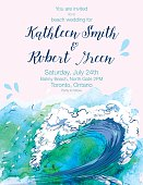 Water Wave Watercolor Wedding Invitation with Text done in pastel colors. Text and font easily changed. This can be used as an wedding invitation or wedding welcome poster. Great for a tropical destination wedding.