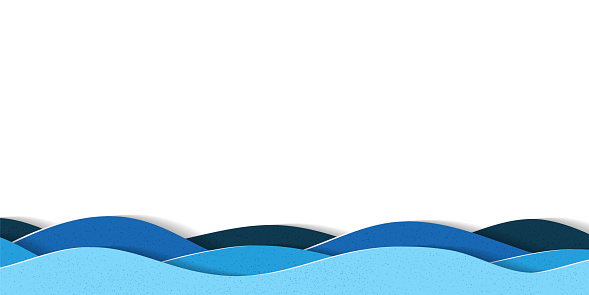 Water waves background with copy space. Abstract multilayered cartoon papercut illustration. clipart