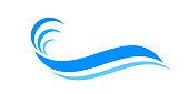 istock water waves blue symbol, water ripples light blue, ocean sea surface symbol, aqua flowing graphic 1276736188