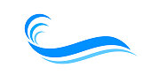 water waves blue symbol, water ripples light blue, ocean sea surface symbol, aqua flowing graphic
