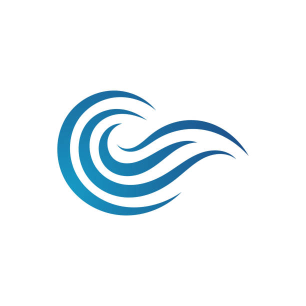 Water Waves logo Design vector icon Water Waves logo Design of blue ocean sign Vector icon Template. wind stock illustrations