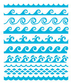 Vector illustration of the water waves set