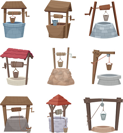 Water well. Antique cartoon country wellness village wooden construction vector illustrations