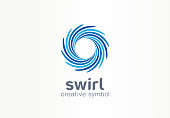 Water whirlpool, aqua, creative symbol concept. Blue swirl, clear spiral mix, spa abstract business idea. Clean sea, ocean, pool icon. Graphic design tamplate