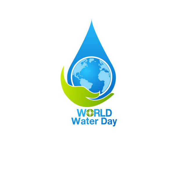 Water world day with hand hold faucet or water tap with a drop vector art illustration