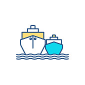 istock Waterborne vessels RGB color icon 1304878100