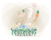 A Rabbit Holding Carrot with Butterflies and Flowers Around It