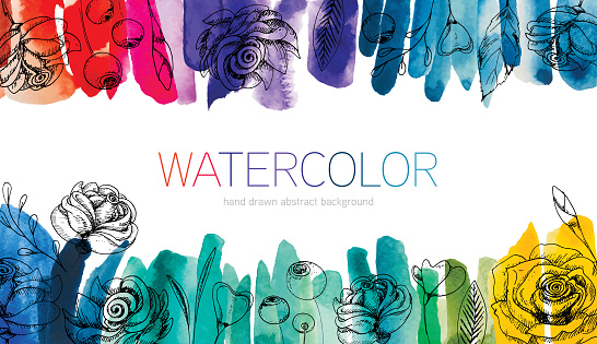 Watercolor Abstract Background With Hand Drawn Floristic