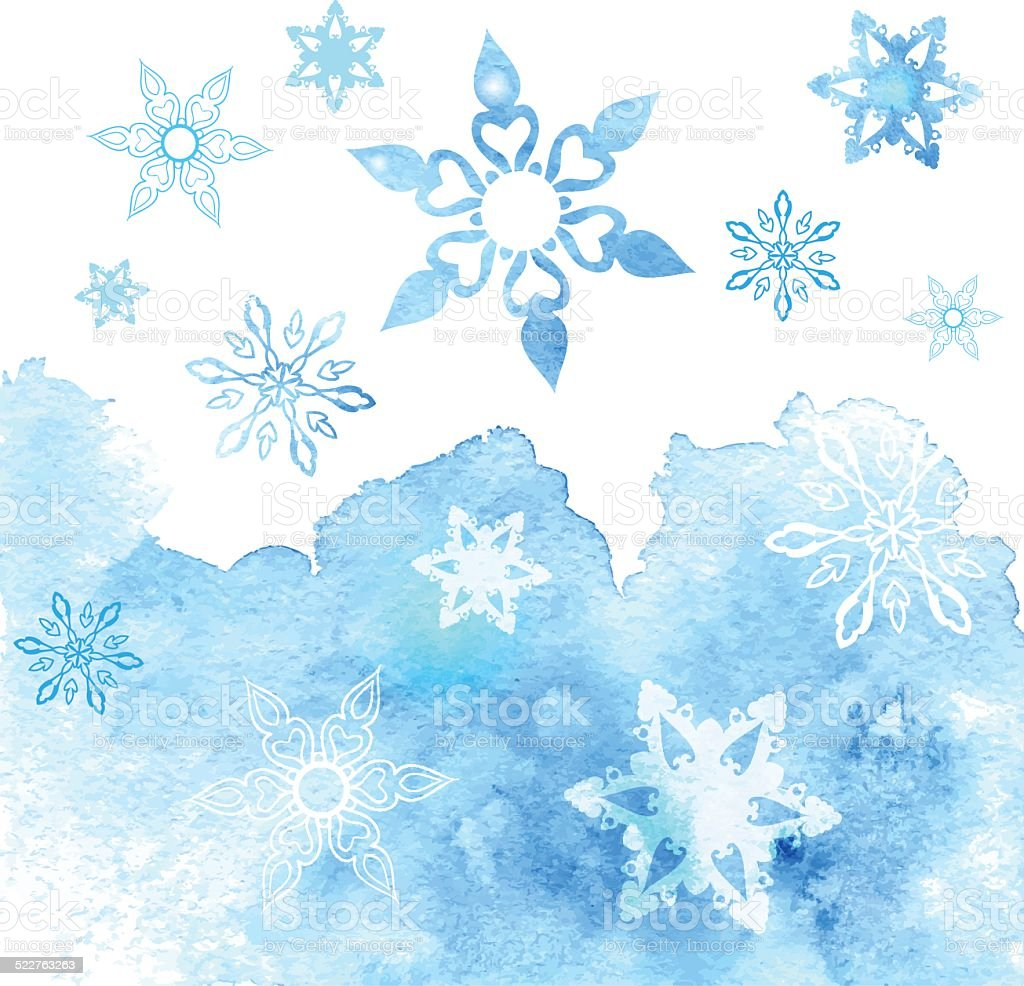 Watercolor abstract background with snowflakes vector art illustration