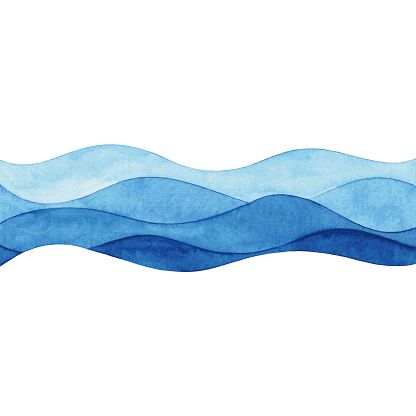Watercolor Abstract Blue Waves