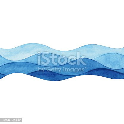 istock Watercolor Abstract Blue Waves 1300105442
