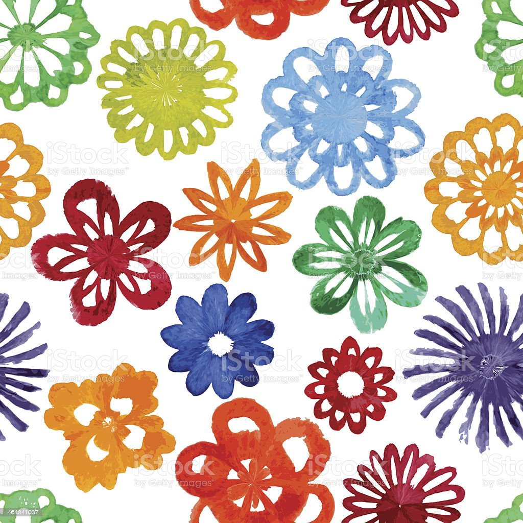 Watercolor abstract flower seamless pattern. vector art illustration
