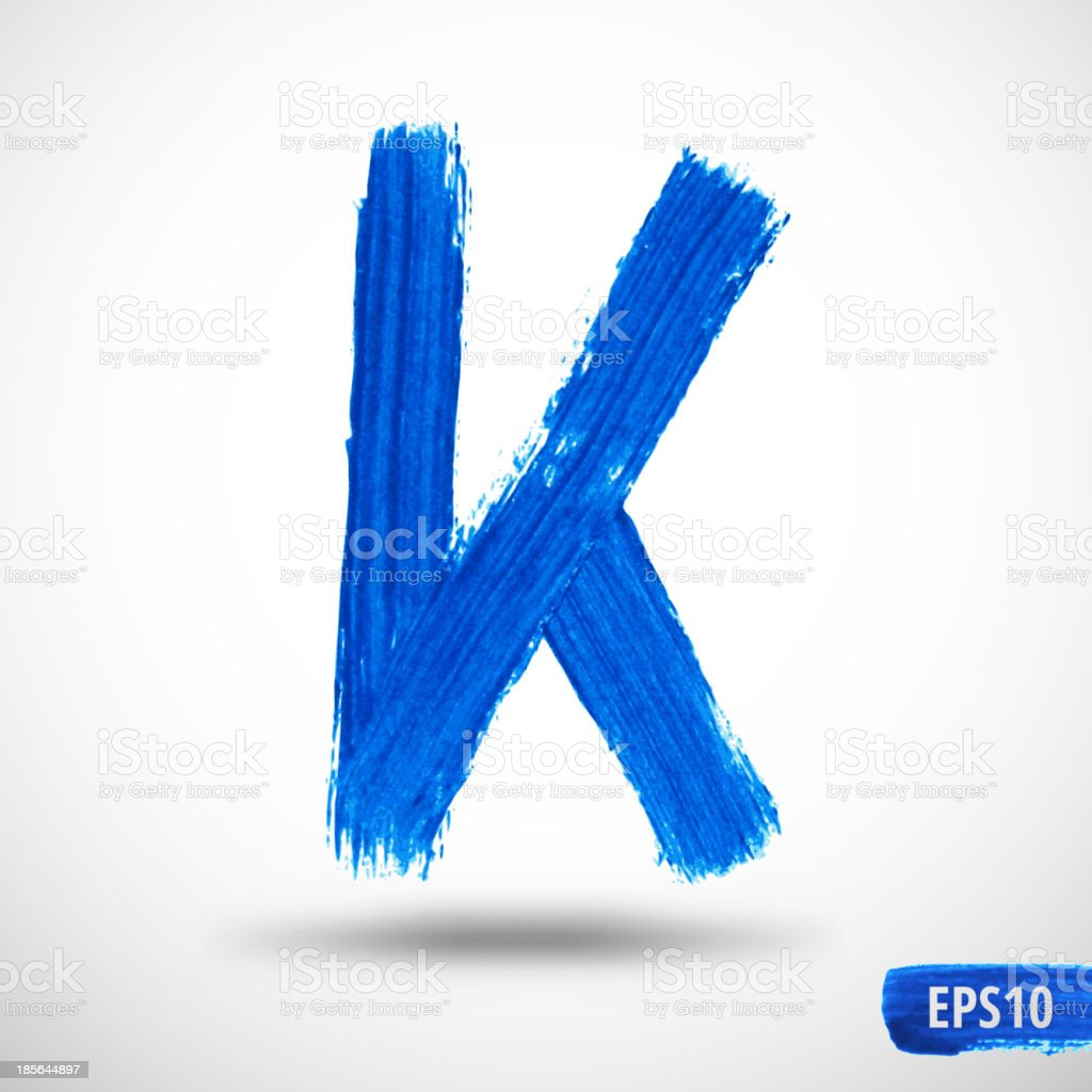 Watercolor Alphabet Letter K. Grunge background royalty-free stock vector art