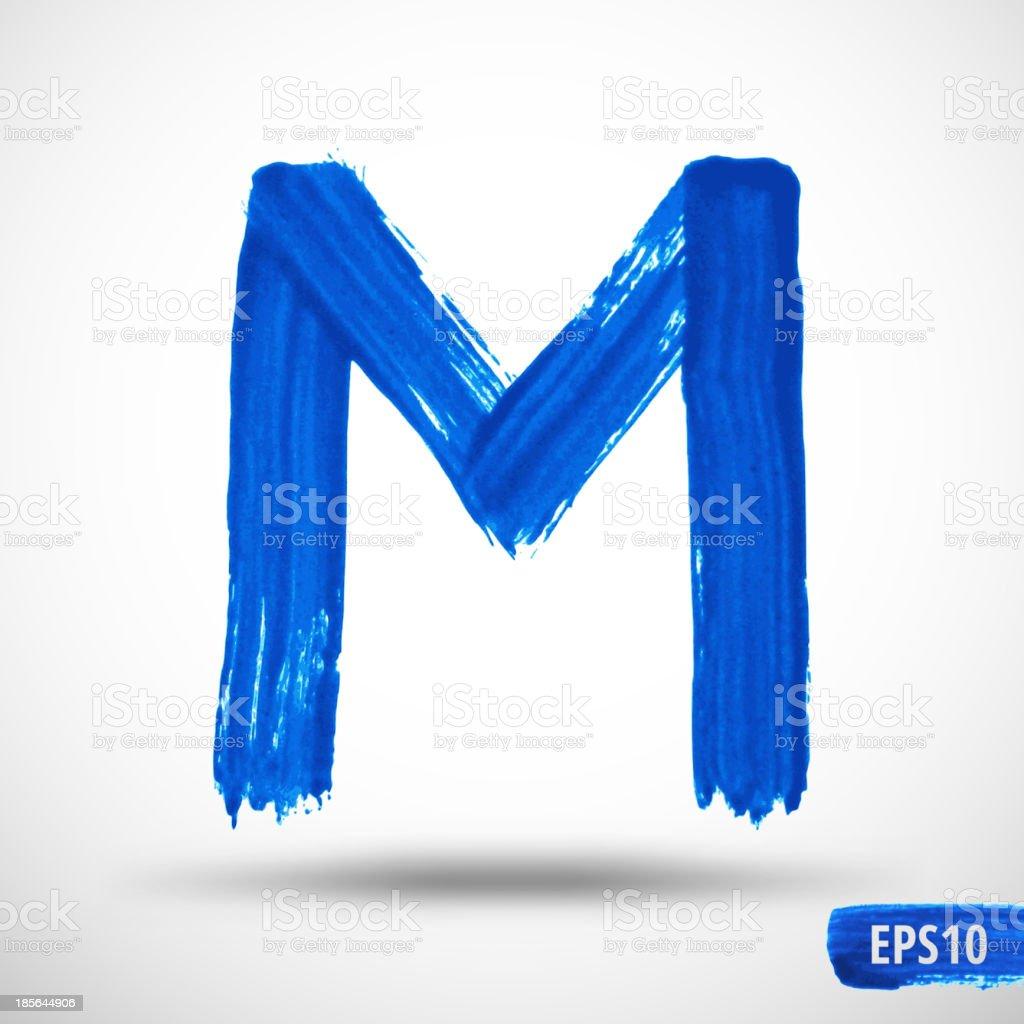 Watercolor Alphabet Letter M. Grunge background vector art illustration