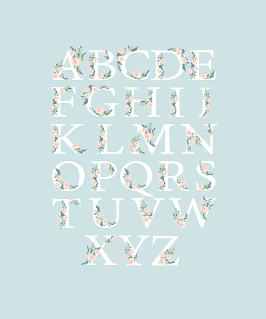 Watercolor alphabet with roses flowers and leaves. Romantic floral font