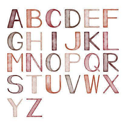 Watercolor Alphabets With Autumn Colors
