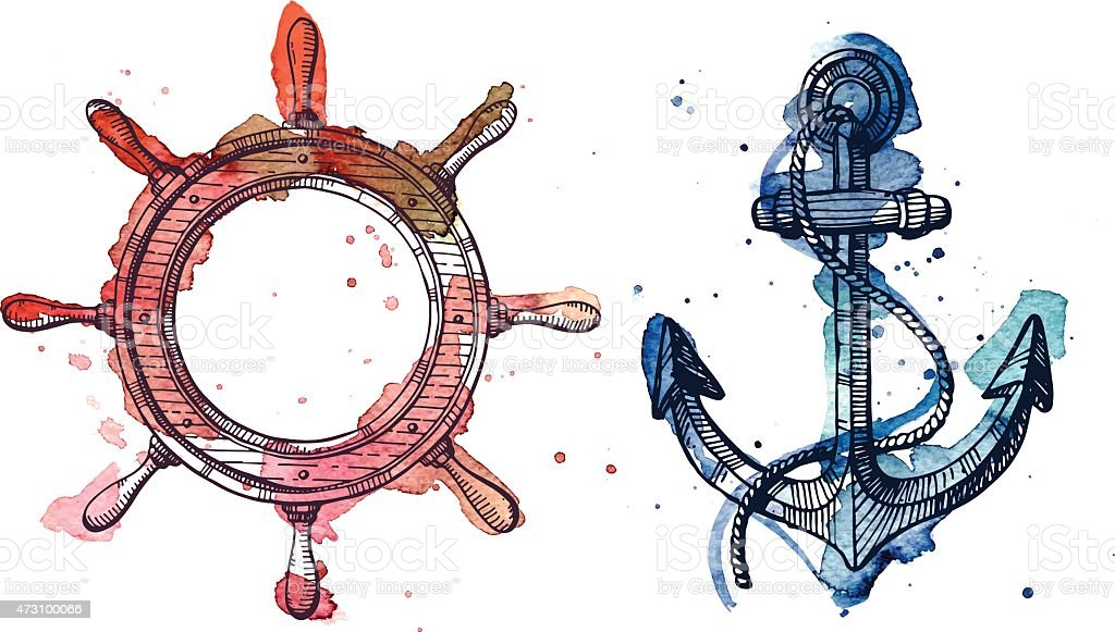 Watercolor and ink anchor and a steering wheel vector art illustration