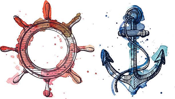 ilustraciones, imágenes clip art, dibujos animados e iconos de stock de acuarela y tinta y un volante anclaje - tatuajes náuticos