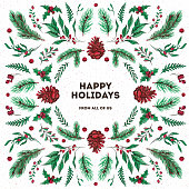 Happy Holidays and Merry Christmas. Watercolor and ink xmas card made of traditional winter plants, pine cones and branches, mistletoe and holly berry. Flat lay Yule greeting, trendy symmetrical holiday design.